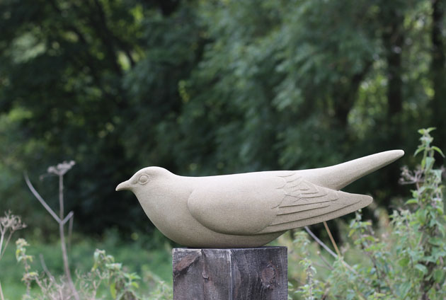 Cuckoo sculpture carved in Yorkstone