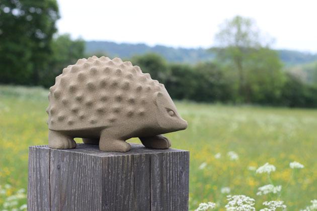 Hedgehog sculpture in sandstone