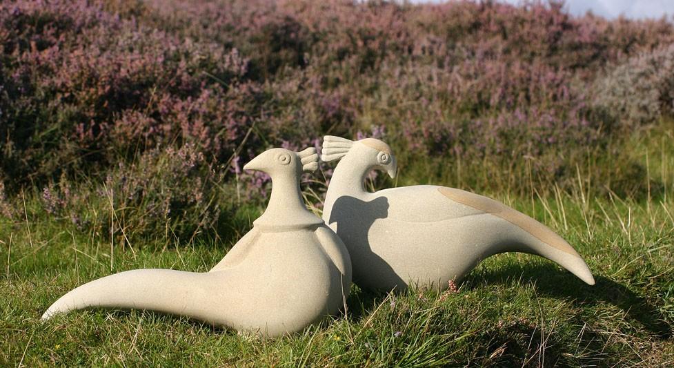 Pheasants sculpture