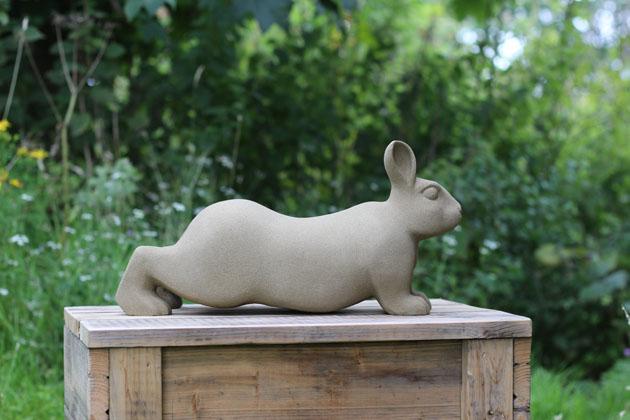stretchy rabbit stone sculpture
