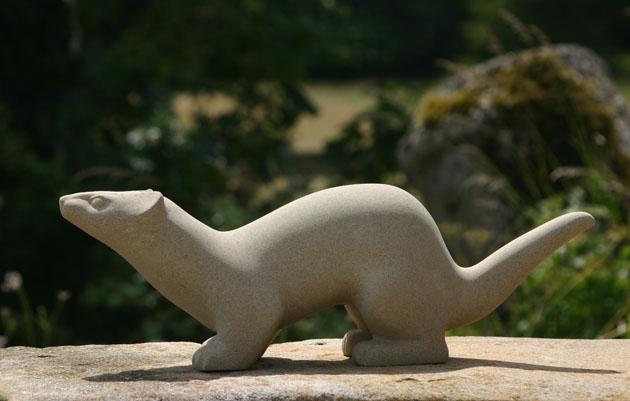 Stoat stone sculpture