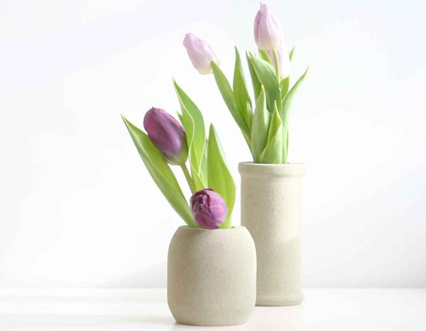 Fresh Spring Tulips In Hand Crafted Stone Vases