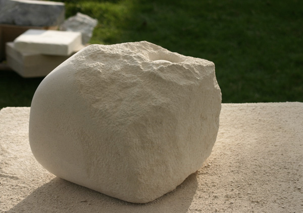 Abstract sculpture in limestone