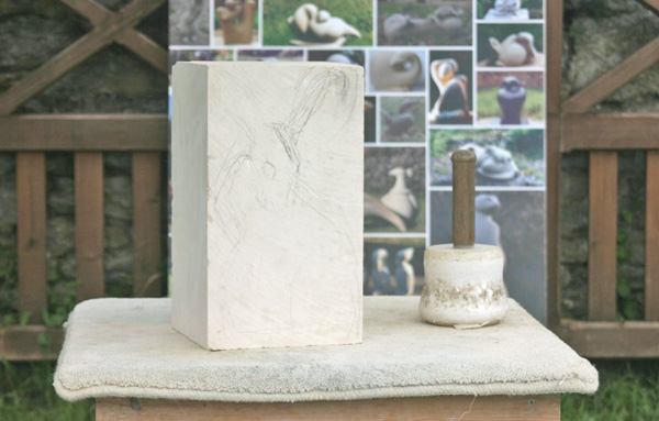Block Of Stone For Sculpting : Jennifer tetlow demonstrating the art of carving and