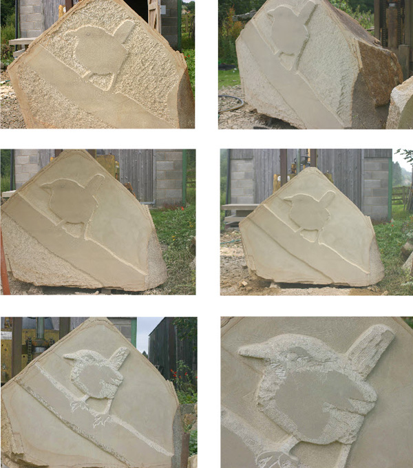 Stages of Carving a wren