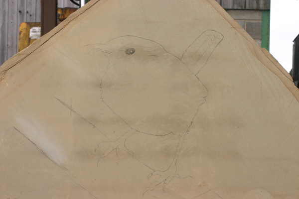 Wren drawn on the stone block