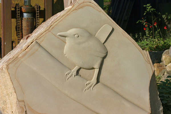 Wren relief carving