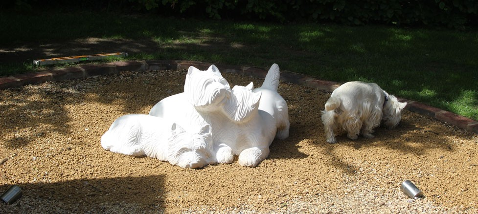 Westies dog sculpture