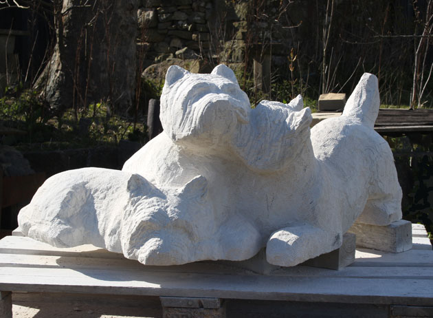 Westies sculpture in progress