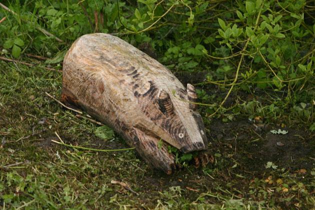 Badger sculpture carved in wood