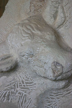Carving details into Aurochs face