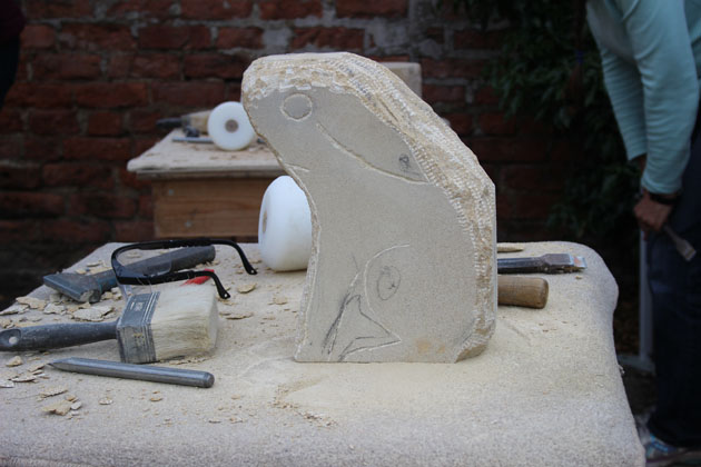Hare sculpture progress at Rural Arts stone carving workshop