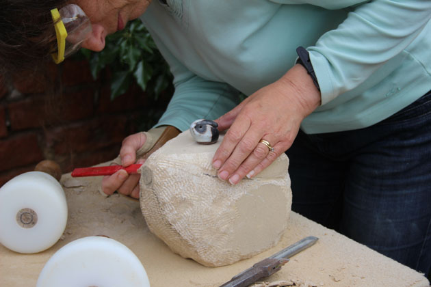 Rabbit taking shape on the stone carving workshop at Rural Arts