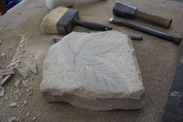 Relief carving of a leaf in progress