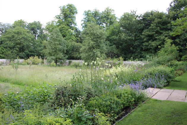The meadow and borders at Nunnington Hall garden