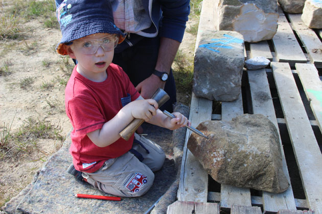 Young carver on my lettercutting in stone workshop