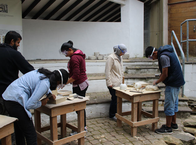 a family at the stone carving workshop