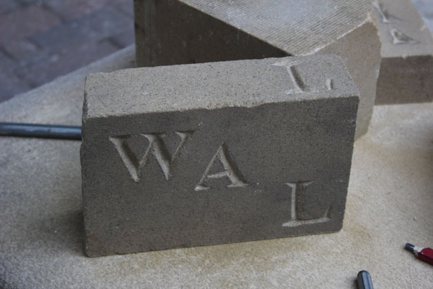 Letters cut in stone