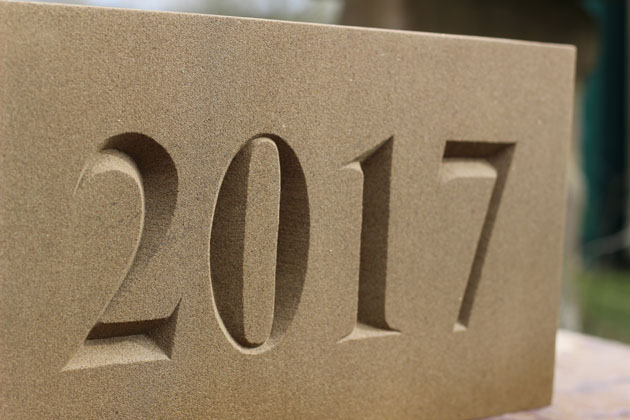 Carved date stone 2017