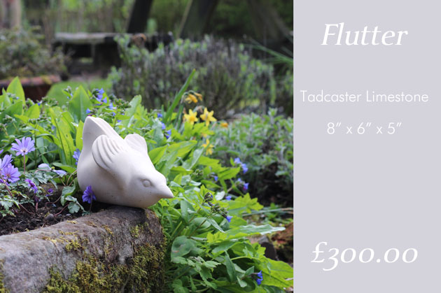 Flutter stone sculpture in the garden