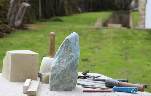 Gazing hare appearing in the stone