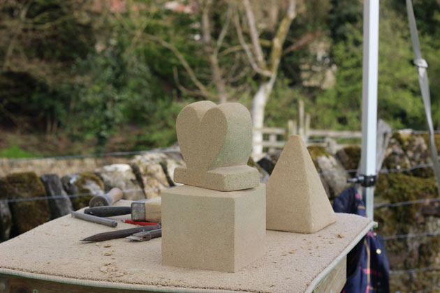 Heart and Triangular Pyramid sculpture carved on the Spring Stone Carving Course
