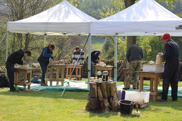 Stone Carving Course members busy at work