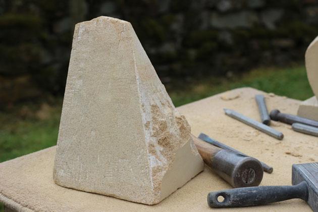 Triangular Pyramid carefully carved