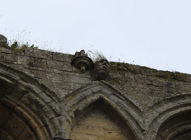 Windswept stone carving at Rievaulx Abbey
