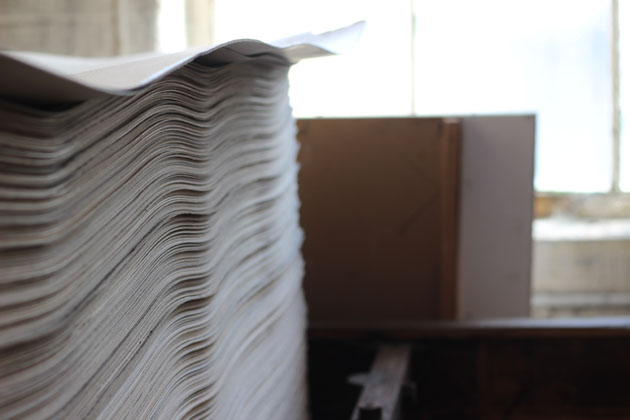 paper stack at the fabric press