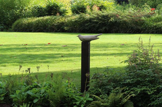Cuckoo stone sculpture at RHS Garden Harlow Carr, Harrogate