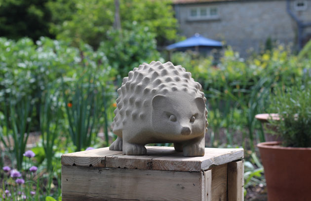 Hedgehog sculpture in sandstone