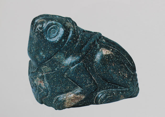 Aztec Grasshopper type insect carved in green stone