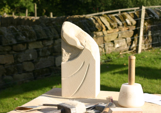 Bird carving from the Autumn 2015 stone carving course