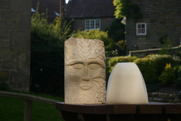Green Man carving at the Autumn 2015 stone carving course