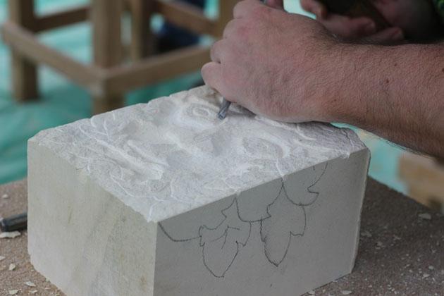 Green man carving