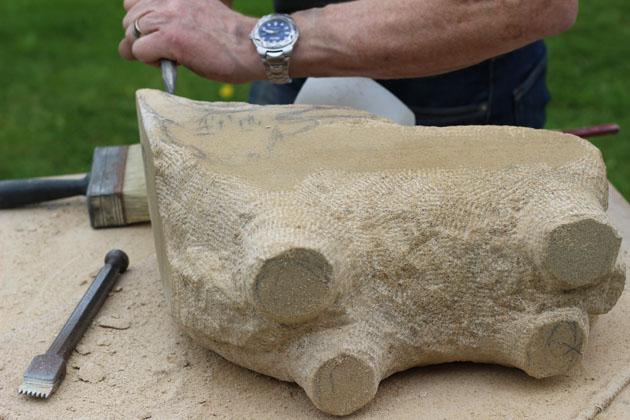 Highland bull carving