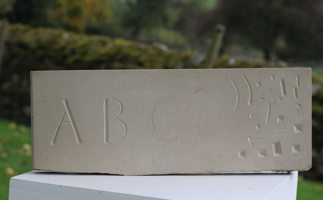Lettercutting in stone practice piece