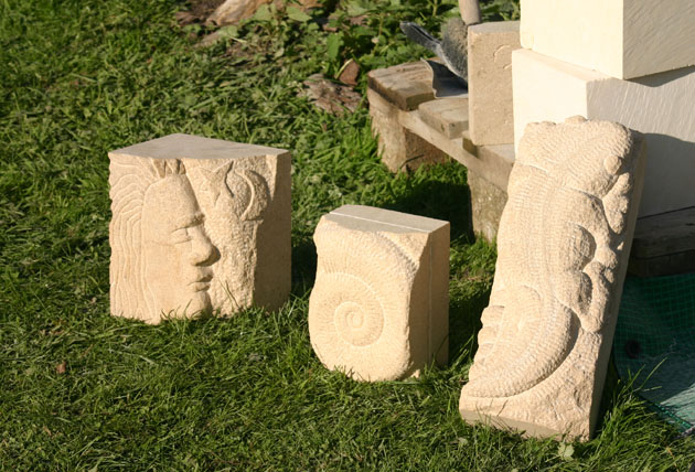 carvings from the stone carving course