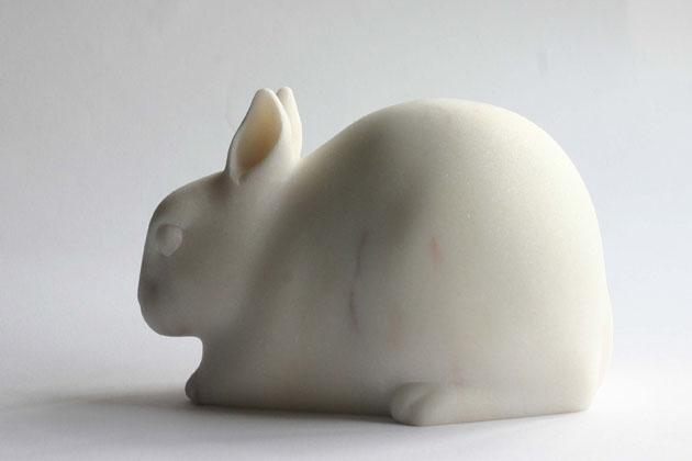 Rabbit sculpture in marble