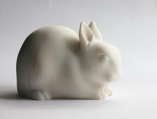 Rabbit sculpture in rosa marble