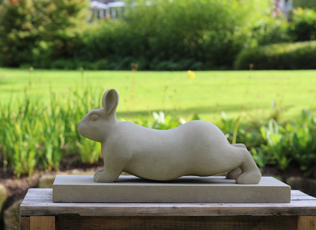 Stretching Rabbit sculpture