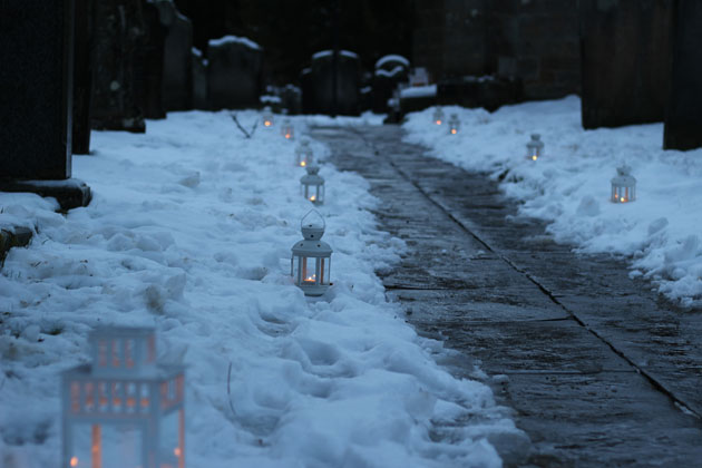 Candlelit path to the play