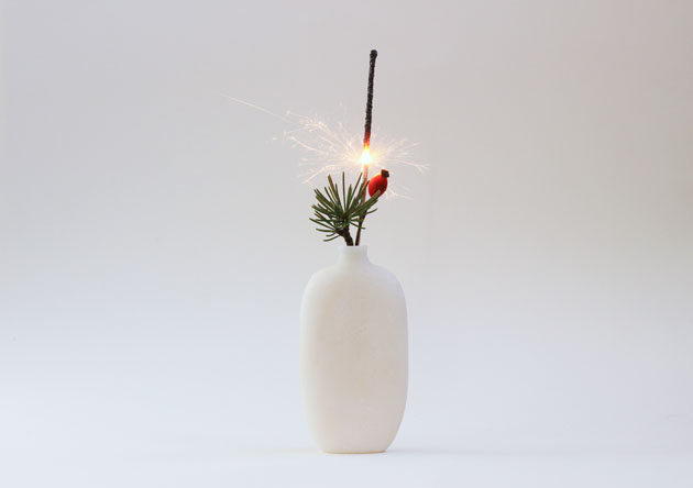 Happy New Year - marble vase with sparkler