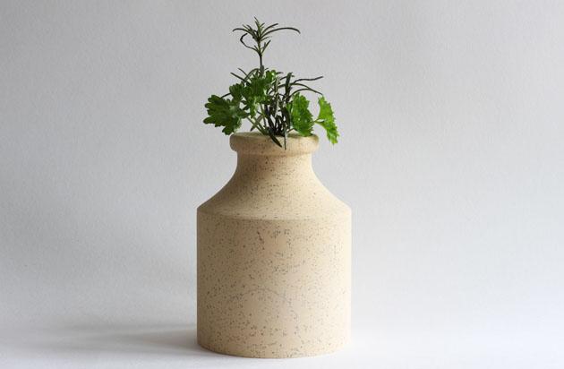 Cadeby stone vase with herbs