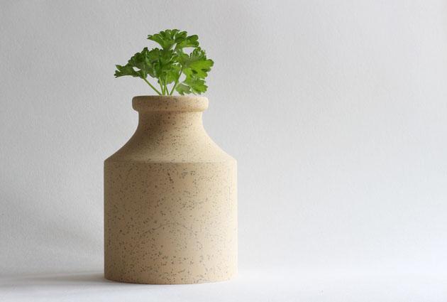 Cadeby vase with herbs