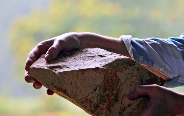 Holding stone ready for sculpting