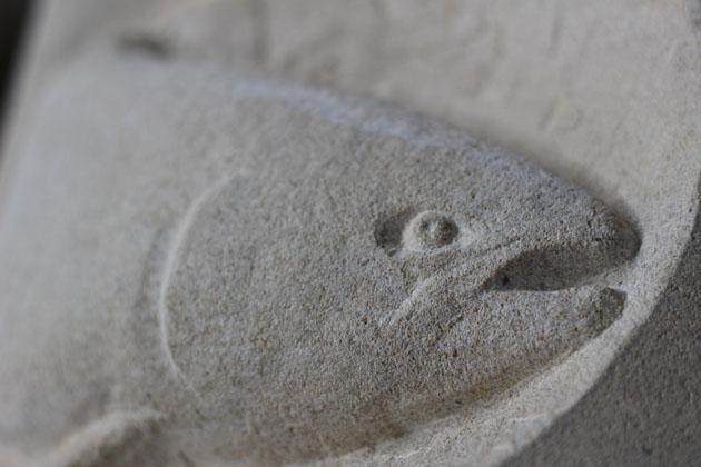 Fish carved in sandstone