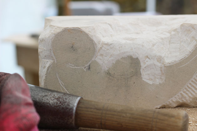 beginning the sculpture on the stone carving course