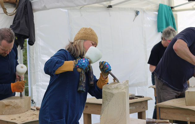 stone carving course - everyone busy with their sculptures